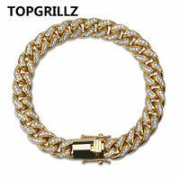 TOPGRILLZ 10mm Miami Kubanischen Kette Armband Kupfer Gold Silber Farbe Iced Out Micro Pflastern CZ Armbänder Hip Hop männer Schmuck Geschenke