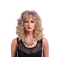 Resistente Riga dei capelli d'oro del merletto naturale anteriore parrucche con Bambino ondulate lunghe Glueless calore capelli sintetici parrucche per le donne