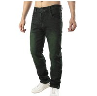 Men' s High Stretch Denim Stragiht Jeans Green Wash Casu...
