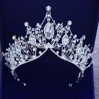 أميرة الزفاف التيجان كريستال الزفاف مجوهرات الشعر مجوهرات الشعر مع الكريستال حجر الراين رائع النساء مجوهرات الزفاف أغطية الرأس عقال