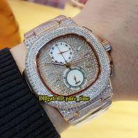 Data Novo Nautilus 5990/1 Rose Gold Case All Diamond Miyota Quartzo Chronograph Mens Relógio Cronograma Sapphire Glass Diamond Bracelet