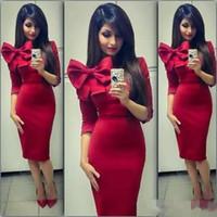Арабский Дубай 2018 Красный сексуальные коктейльные платья 3/4 рукава лук узел длина чая короткие выпускного вечера вечерние платья вечерние платья для девочек дешевые