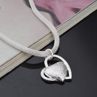 شحن مجاني العائمة سحر الفضة 925 مجوهرات النساء قلادة سلسلة مطعمة القلب قلادة فحام فام سحر