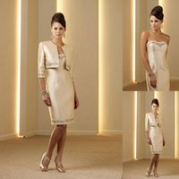Elegant Knee Length Mother Of The Bride Dresses With Lace Ja...