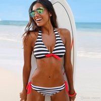 Black Striped Bikini Low Waist Padded Bathing Suit Women&#03...