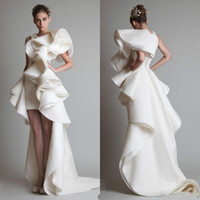 Modest Krikor Jabotian Luxury Ruffles High Low Evening Dress...