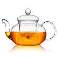 Teiera in vetro fiore resistente al calore di alta qualità, bottiglia pratica Teiera in vetro fiore infusore con infusore Foglia di tè caffè alle erbe