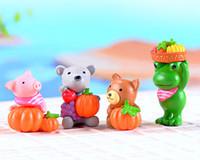 4 pz Frutta animali Rana Orso maiale figurine fata giardino in miniatura mestiere della resina casa delle bambole bonsai decor terrarium jardin decoracion