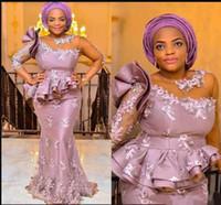 새 레이스 새틴 아프리카 이브닝 드레스 Sweep Train Sheath Appiques 나이지리아 여성 이브닝 드레스 파티 공식 예복 가운