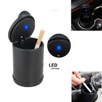 Verkauf Auto Auto Inner Interior Schwarz Universal Aschenbecher LED Easy Clean Beleuchtete Aschenkasten Zubehör Münze Geld Aufbewahrungsbehälter-Abdeckungs-Fall