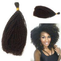 Moğol Toplu Saç Afro Kinky Kıvırcık Toplu Örgü İnsan Saç Uzantıları için 8-26 inç Stokta FDShine