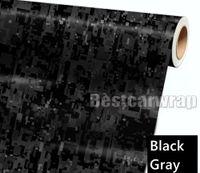 Envoltura de automóvil de vinilo negro gris digital Tiger Camo con burbuja de aire Etiqueta de camuflaje gráfico de píxel gratis Tamaño de película 1.52x30m 5x98ft