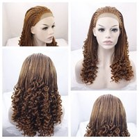 Wholesale 27# Brown Curly Braids Wigs High Quality Braiding ...