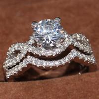 حجم 5-10 جديد وصول اليدوية مجوهرات فاخرة 10KT الذهب الأبيض معبأ جولة قص توباز مكتب Enternity المرأة الزفاف الماس خاتم الزفاف مجموعة