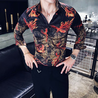 2018 Red Floral Super Slim Casual Männer Stilvolle Fit Langarmshirts Party Kleid Club Neue Shirts Tops Camisa Masculina