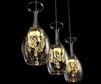 Verres à vin en cristal moderne Bar Lustre Plafonnier Suspension Lampe LED Éclairage Suspension Lampe LED Salle À Manger Salon Luminaire