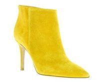 2018 الخريف الشتاء المرأة الكاحل أحذية عالية الكعب جلد الغزال الجوارب الصفراء بوينت تو حزب أحذية جديد للدراجات النارية بوتا