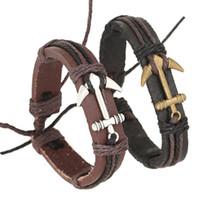 Натуральная кожа крючок лодочка якорь браслеты регулируемый браслет браслет манжеты для женщин мужчины панк ювелирные изделия подарок