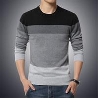 b7aa93393 M-4XL свитер мужчины 2018 Новое прибытие повседневная пуловер мужчины осень  шею лоскутное качество вязаный