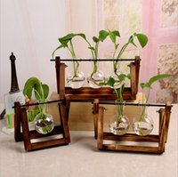 New Flowers Vase Plant Transparent Glass Vase with Wooden Fr...