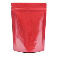 13x18cm 50PCS / 많은 캔디 쿠키 너트를 위해 가방을 포장 광택 레드 순수 알루미늄 호일 재 밀봉 순수 마일 라 호일 지퍼 보관 파우치 일어나