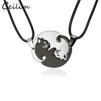2018 nova chegada casais casais colares preto branco casal colar de aço inoxidável animal gato pingentes colar para amante atacado