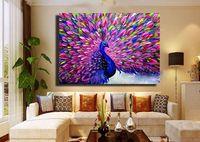 Moderne abstrakte Kunst handbemalt Malerei Dekor Wand: Pfau (kein Rahmen) 24 * 24Zoll