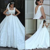 Gorgeous Cathedral Train Wedding Dresses 2018 Spaghetti Straps Arabic Dubai A-Line Bridal Gowns with 3D Floral Flowers Vestido De Novia