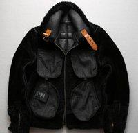 venda quente AVIREXFLY B3 genuína jaqueta de couro preto vôo jaquetas lapela pescoço fur jaqueta de couro de carneiro