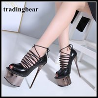 16cm Rome lace up super platform peep toe ultra high heels p...
