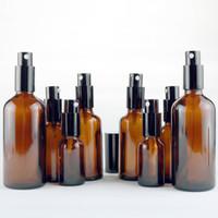 5 10 15 20 30 50 100 mL ámbar marrón botellas de aerosol de vidrio vacío con tapas atomizadoras de niebla fina para limpieza del hogar DIY, aromaterapia, cuidado de la belleza
