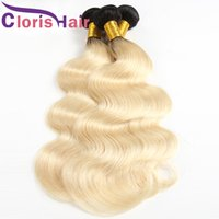 Ombre Peruvian Virgin Hair 1B 613 Platinum Blonde Colored We...