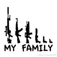 14.5 * 13.3CM 가족 만화 총 비닐 CR 스티커 블랙 / 실버 CA-0040