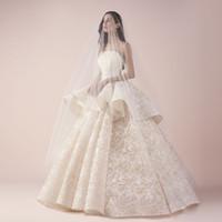 ثوب الزفاف ثوب رائع الكرة الرباط فساتين الزفاف أزياء حمالة أكمام Peplum كامل الرباط فستان الزفاف مخصص طول الطابق