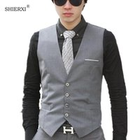 Male cotton dress vests Men casual sleeveless formal business jacket suit vest Men waistcoat coat Gilet