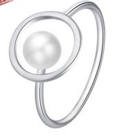 прекрасный 925 серебряный инкрустация Кристалл натуральный жемчуг леди кольцо 6 7 8 (17.4) fgf