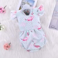 7ffab553381 New Arrival. 2018 Baby Girls Flamingo Fly Sleeve Rompers INS Fashion  Toddler kids Flamingos Printed Romper Summer Infant Sleevless Jumpsuits