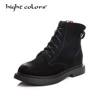 nubuck Motorcycle Boots Woman Back Gray Autumn Winter Velvet...