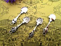 Encantos cuchara 60pcs--, antigua de plata tibetana de la cuchara de la vendimia colgantes del encanto de 35x 10 mm