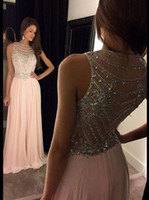 Pink Prom Dresses Long Prom Dress A Line Jewel Sweep Train S...