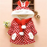 Baby Girl Clothes Baby Cute Rabbit Ears Hooded Polka Dot Win...