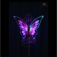 TC-171C Çocuk modelleri programlanabilir led ışık kanatları kelebek oryantal dans kostümleri led sahne kostümleri gösteri RGB tam renk led performans