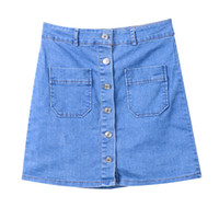 New Fashion Short Skirts Women' s Blue Denim Button High...