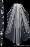 حار بيع قصيرة الزفاف الحجاب الحجاب مطرز حافة شحن مجاني تول طبقة واحدة العروس الحجاب رئيس الزفاف accessiories الزفاف