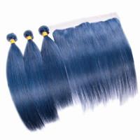 Seda Reta Cor Azul Cabelo 3 Pacotes Com Rendas Frontal 4 Pcs Lot Cinza Azul Extensões de cabelo Com Top Frontal 13x4