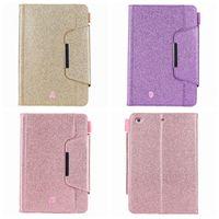 Billetera de cuero de lujo de Bling Bring para iPad Mini 1 2 3,4, iPad 2 3 4, 5 6 Air 2 9.7 '', 2017 2018 PU Sparkle Soporte Tarjeta Funda para la piel