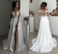 Sexy Long Sleeves Wedding Dresses Sheer Neck Illusion Bodice...