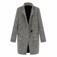 WEIXINBUY 2016 Винтаж Женщин Осень Весна длинное пальто куртка парка плащ шерсть нагрудные пиджаки пиджаки ZT1
