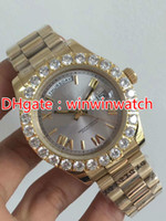 Prong set diamonds bezel watch 43MM mens automatic luxury go...