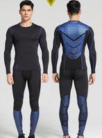Al por mayor-Hombres Pro secado rápido compresión Long Johns aptitud invierno gymming masculina otoño del resorte de Sporting Runs entrenamiento conjuntos de ropa interior térmica